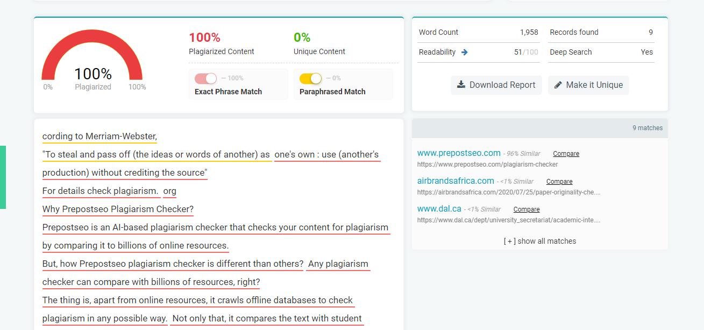 Prepostseo Online Plagiarism Checker